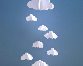 cloud baby mobile hanging baby mobile 3d paper mobile nursery mobile baby