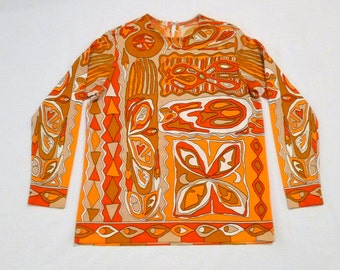 Orange Psychedelic Knit Top Vintage Tribal Pull Over Op Art Shirt 1970's Abstract Print Long Sleeve shirt Eyes Skull Geometric Border Print