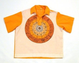 Zodiac Sign Shirt Vintage Horoscope Chart Age of Aquarius Pull Over Top 1970s Medium 15 15.5 Hippie Star Sign Astrology Cosmic