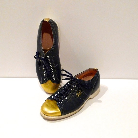 Linds Bowling Shoes Vintage Mens Navy with Gold Toe Bowling