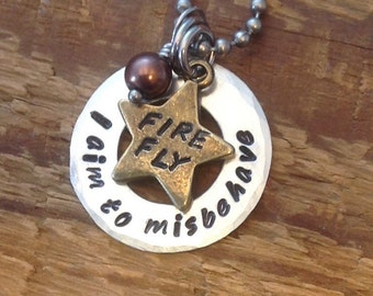 Firefly inspired hand stamped necklace