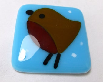 Christmas Fused Glass Magnet with Cute Robin
