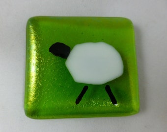 Fused Glass Magnet with Sheep in a Field