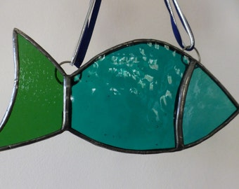 Stained Glass Fish - teal / turquoise / green - Glass fish Suncatcher