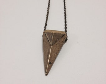 Triangle Pyramid Antiqued Brass Necklace