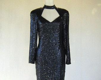 Black Large Sequin Sweetheart Choker Long Sleeve Diva Glam Wiggle Dress