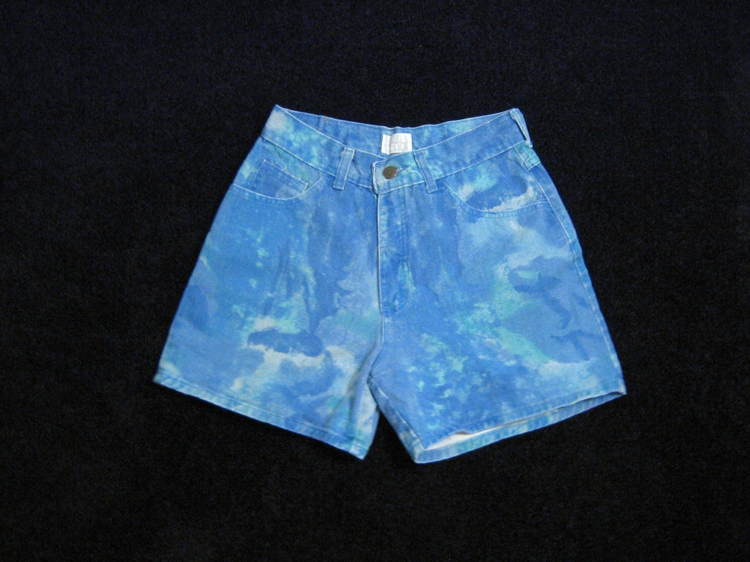 blue teal tie dye denim high waisted shorts by