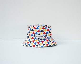 Baby Sun Hat Reversible (6-12 months) with strap - Primary Geometric