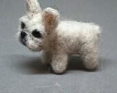 Tiny White Needle Felted Frenchie Miniature Felt French Bulldog Needle Felted Tiny Dog