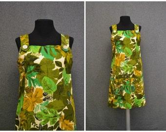 1960s Tropical Print Jumper Dress