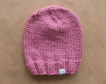 Super Chunky Knit Wool Blend Ladies Beanie Hat - Bubblegum Pink - Made to order
