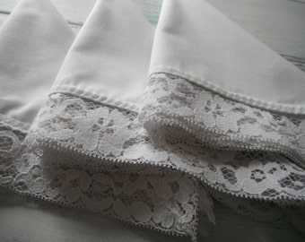 white napkins wedding decor 6 piece napkin set table linens table wares lace edge napkins cottage chic french country vintage napkins