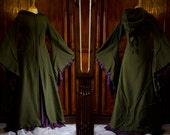 Floor Length Haunted Hawtin Coat ~ Long Green Coat ~ Woodland Wear ~ Olive Green ~ Made to Measure ~ Festival Clothing ~ Technodolly
