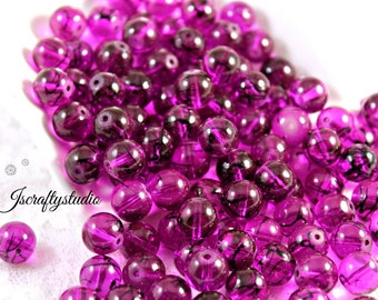 60 10mm Purple Glass beads with Black Drizzle