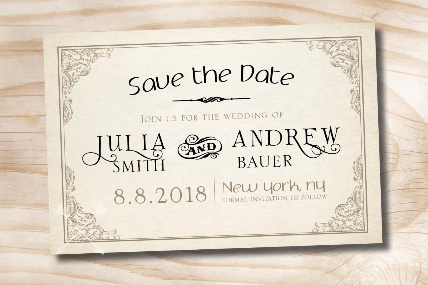 Elegant Scroll Save The Date Wedding Invitation Printable