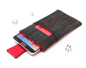 Galaxy Note 5, 4, Edge, 3 sleeve case cover pouch handmade with magnetic closure dark jeans and red with a pocket