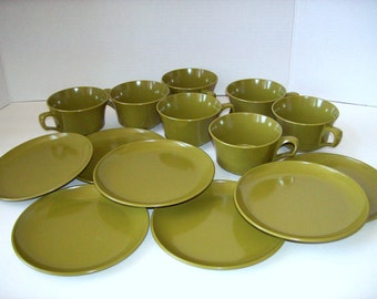 Melmac cup saucer sets avocado olive green melamine dishes 14 pc set camping dishware