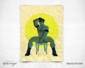 SALE - Feeling Kinky III - 8 x 11 Print - sexy man in a chair  - leather - dark