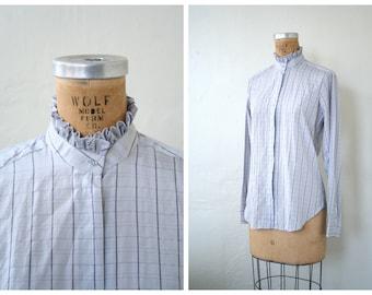vintage 1980s Foxcroft plaid blouse - 80s ruffled collar / Pale Lavender - gray lilac / 80s preppy ladies shirt