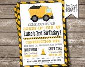 "Construction Themed Party Invitation- Printable Digital Invite - 5x7"" - Dump Truck Party Invitation"
