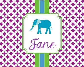 Personalized Placemats, Monogrammed Placemats, Laminated Placemat- Design your Own-- ELEPHANT