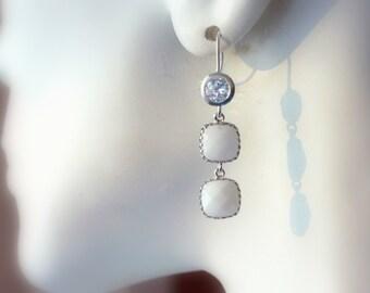 White Alabaster Earrings, Chandelier Earrings, Dangle Earrings, Drop Earrings, Birthday, Bridal Jewelry, Wedding Earrings, Modern Earrings