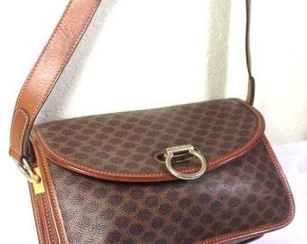 Vintage CELINE Brown Coated Canvas Sling Shoulder Bag Italy