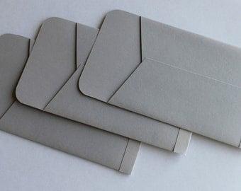 Gift Card Sized Envelopes - Set of 3 - Grey Gray Charcoal -Holidays Christmas Stocking Stuffer