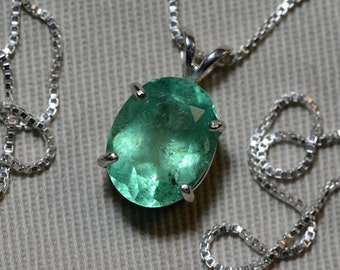 Emerald Necklace, Lively Green 4.23 Carat Colombian Emerald Pendant Appraised at 2,700.00, Sterling Silver, Genuine Emerald, Real Emerald