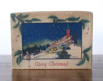 Vintage Christmas chocolate box, 1920s 1930s Veri-Delicious Brand, Voneiff Drayer Co, Baltimore Maryland candy, Merry Christmas decoration