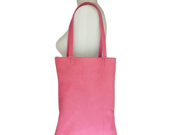 Leather Tote Bag - Pink Goatskin - Everyday Leather Bag - Preppy Leather bag - medium tote bag - Girls tote bag - teen tote bag - only one