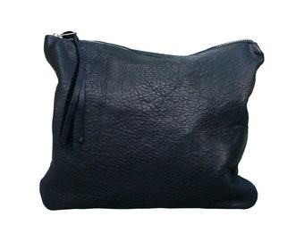 Distressed leather bag , Distressed black leather clutch , Black zippered clutch , Foldover clutch ,  Handmade bag ,  Mens , women