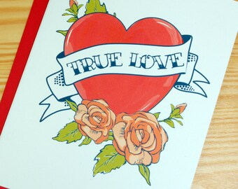 Tattoo Card - True Love Valentine Heart with Roses