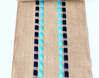 Striped Table Runner with Navy Blue & Turquoise Ribbons - Elegant Table Accessory  - Coastal Living