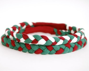 Holiday Headband - Set of Two - Green Red White - Eco Friendly Braided Headband - Organic Clothing