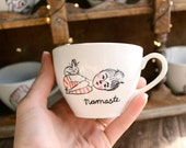 namaste childs pose yoga cup, coffe mug, tea cup, illustrated, hand painted, hand drawn