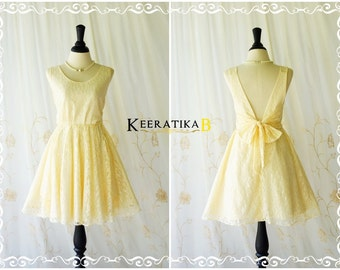 A Party V Backless Dress Vanilla Lace Backless Dress Pale Yellow Lace Cocktail Prom Dress Vanilla Lace Wedding Bridesmaid Dresses XS-XL