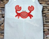 Boys blue stripe seersucker jonjon short outfit with crab applique, name monogram available 6m-4t