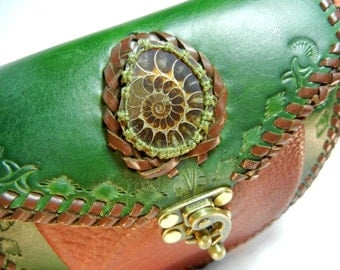 Green Leather Purse with Ammonite Fossil Inlay
