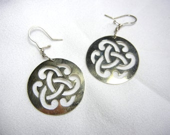 Celtic Knots Metal Plaque Earrings with Silver Hooks