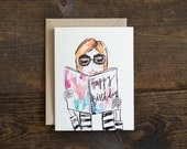 Birthday card for girl - fashion illustration - chic - pink