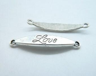 """15pcs 7x41mm Antique Silver Letter """"Love"""" Connector Link Charms Pendant c7243"""