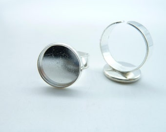 10pcs 14mm Silver Plated Brass Cameo Cabochon Base Setting Rings c4643
