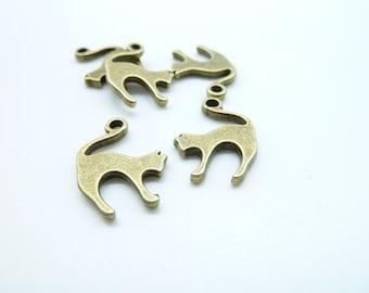 20pcs 13x19mm Antique Bronze Cat Simply Adorable 3D Charm Pendant c7914