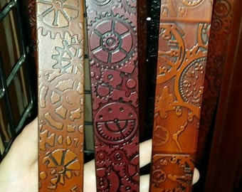 Customizable 2.25 inch Steampunk Design Leather Pirate or Kilt Belt