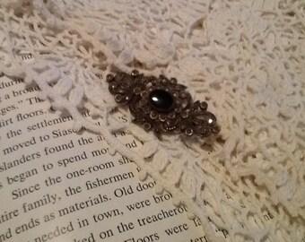 Marcasite Brooch Sterling Silver Black Onyx Antique Art Deco Fine Jewelry