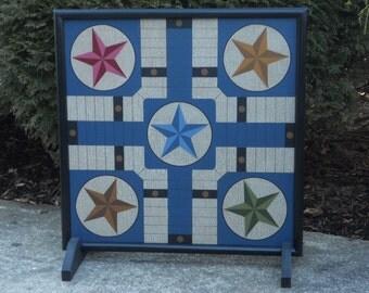 "19"", Parcheesi, Game Board, Primitive, Folk Art, Wood, Game Boards, Wooden, Board Game"