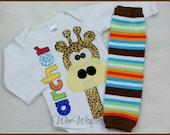 Boys Personalized Newborn Gifaffe Bodysuit and Leg Warmer SET 2 PIECE Coming Home Outfit Baby Shower Gift Long Necked Giraffe
