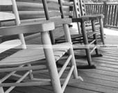 Photography Print... 11x14 Black and White Rocking Chairs