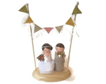 Bunting Wedding Cake Topper With Lace Whisps (Wedding Bunting) (Bride Groom Dolls) (Bride and Groom Wedding Cake Topper) (Wedding Flags)